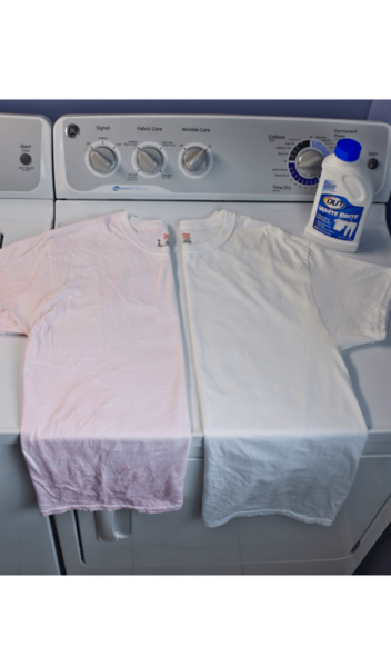 OUT® White Brite® Laundry Whitener package on washer beside pink and white before and after t-shirts