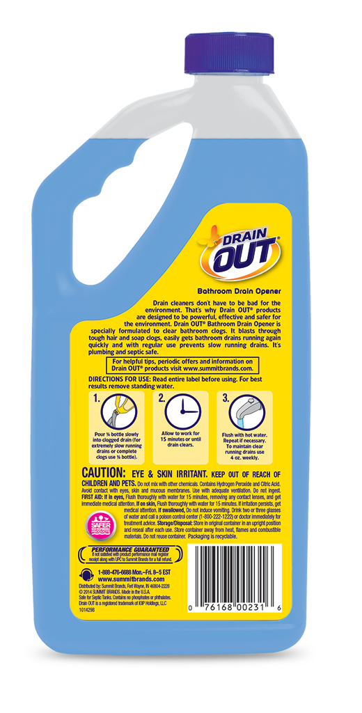 Drain OUT Bathroom Drain Opener & Cleaner Package Back; 32 fl oz; SKU DOB32B