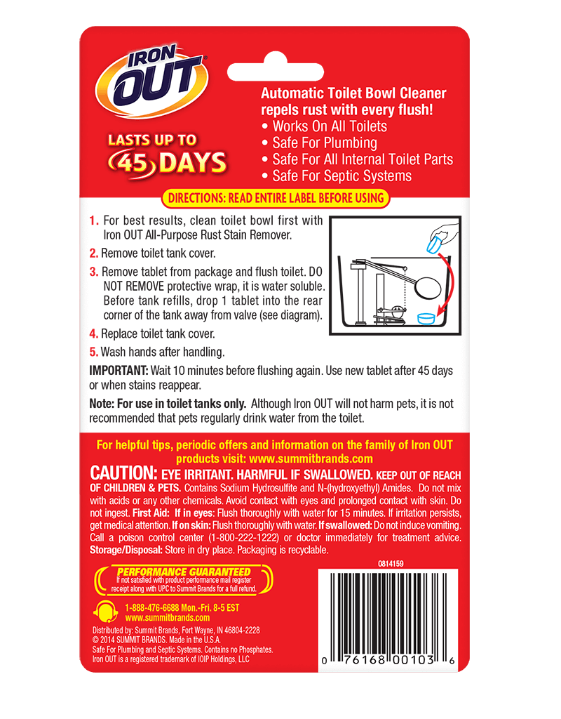 Iron OUT® Automatic Toilet Bowl Cleaner package back