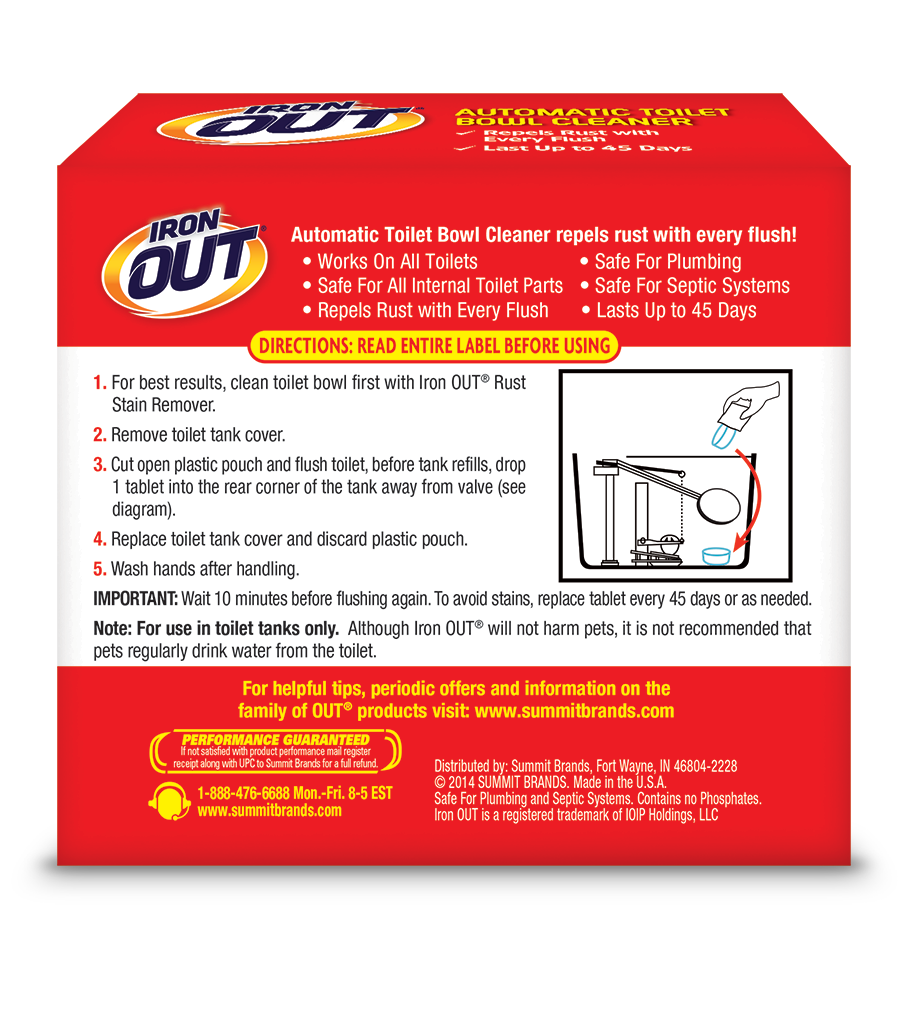 Iron OUT Automatic Toilet Bowl Cleaner 6 use back SKU AT06B