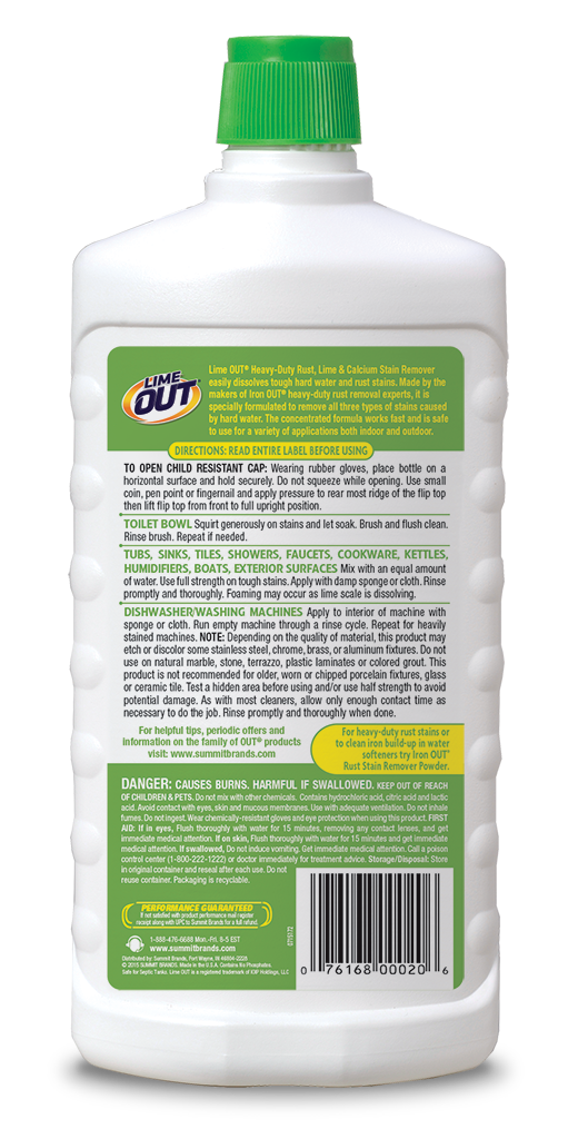 Lime OUT Heavy-Duty Rust Limescale & Calcium Stain Remover Package Back; SKU AO24B