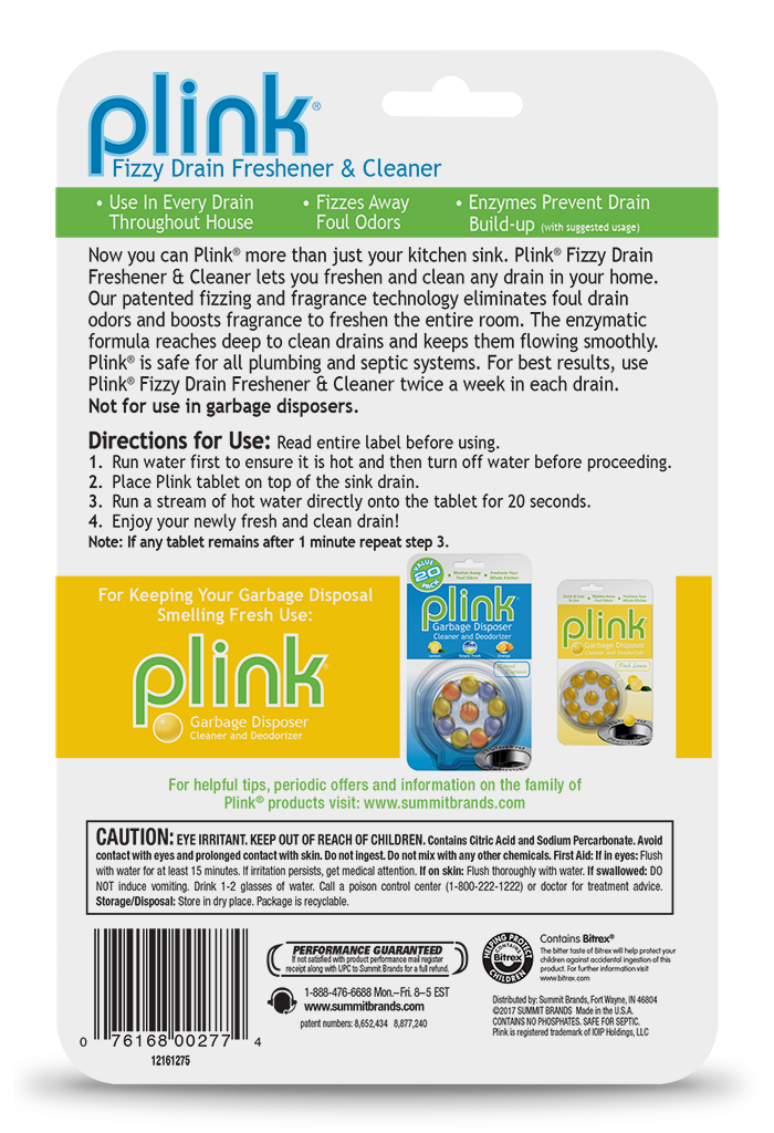 Plink Fizzy Drain Freshener & Cleaner Simply Fresh Package Back; 12 use; SKU PDFSF01B