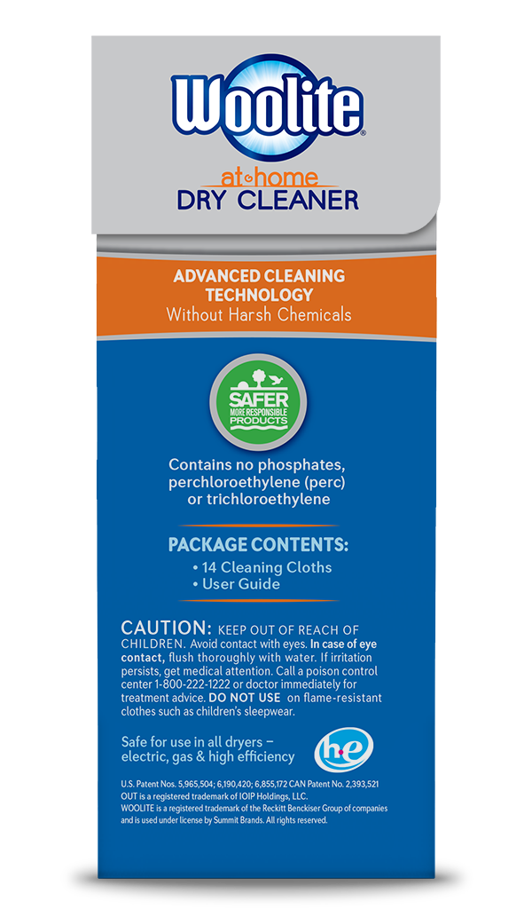 Woolite At-Home Dry Cleaner Fresh Scent Package Side; 14 cloth; SKU DCS14B
