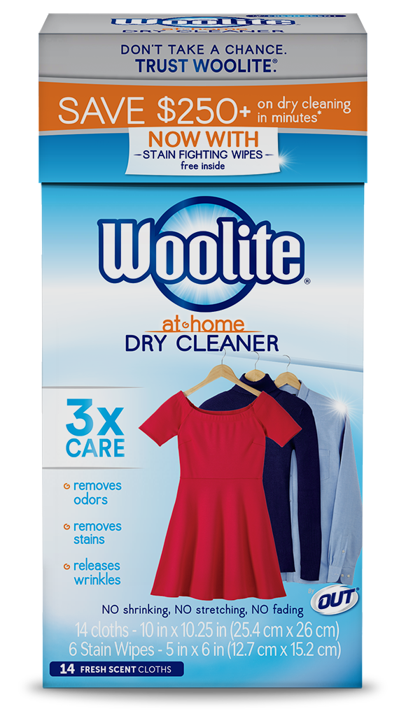Woolite At-Home Dry Cleaner Fresh Scent Package Front; 14 cloth; SKU DCS14B