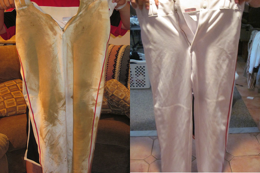 Baseball Pants clay and rust stain Before and After using iron out rust stain remover