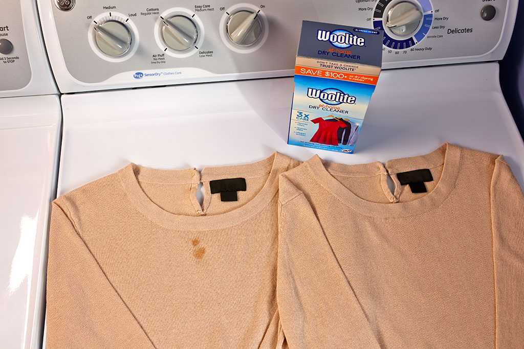 Before and After of Stain Removal with Woolite Home Dry Cleaning Kit