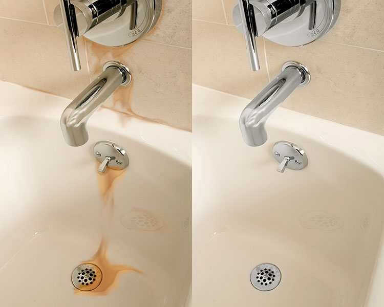 bathtub rust stain before and After using iron out rust stain remover
