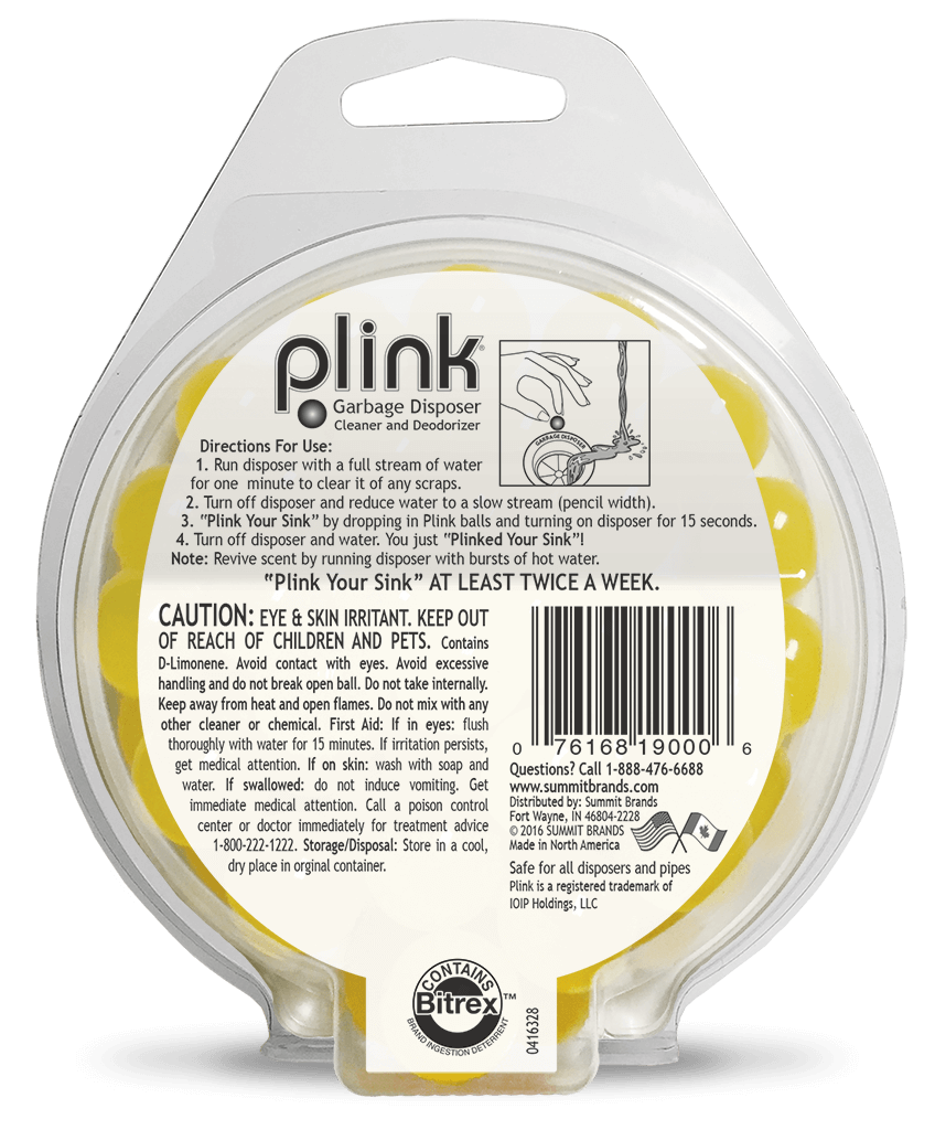 Plink Lemon 40 count value pack package back